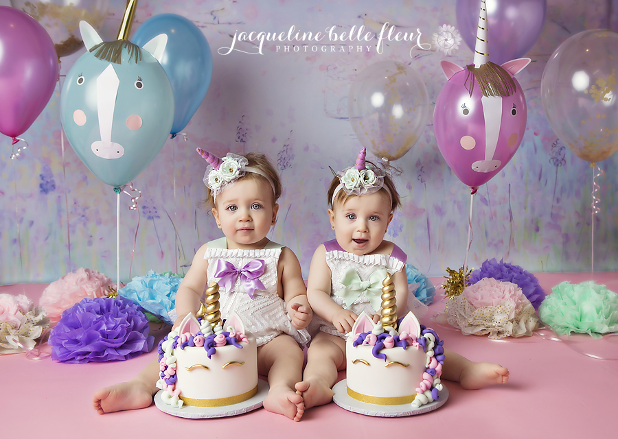 Twins Unicorn 1st Birthday Cake Smash
